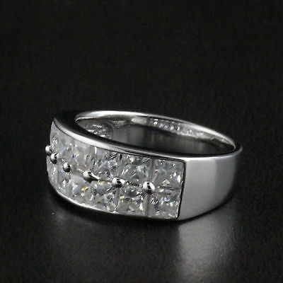 Unisex Womens Mens 925 Sterling Silver CZ Princess Engagement Wedding Band Ring