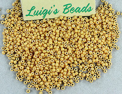 11/0 Round Toho Japanese Glass Seed Beads #123D- Opaque-Lustered Dark Biege 10g