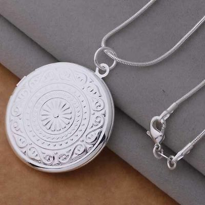 925 Silver Plated Round Opening Locket Photo Charm Chain Necklace Pendant