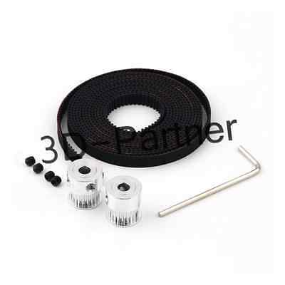 2m GT2-6m Open Belt KIT and 2Pcs Aluminum 20-GT2-6 Pulley for 3Dprinter Prusa i3