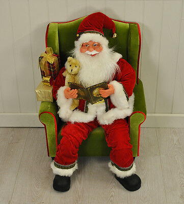 Traditional Santa Claus in Arm Chair by Westwoods 80cm Christmas Xmas Decoration