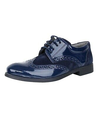 Sirri Boys Formal Navy Blue Suede Patent Brogue Shoes Wedding Page Boy Prom