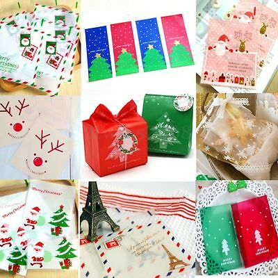 100pcs Christmas Halloween Xmas Biscuit Cookies Candy Party Gift Cellophane Bags