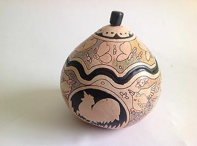 Hand Painted Gourd Trinket Box With Story Telling Decoration