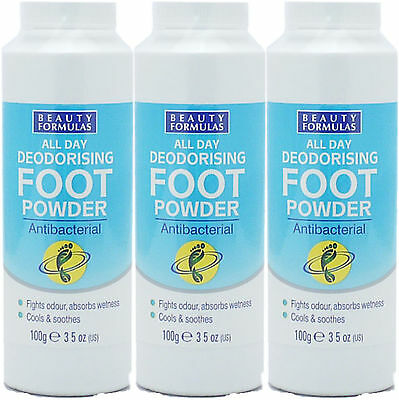 Beauty Formula All Day Deodorising Foot Powder 100g X3 TRIPLE PACK- Fights Odour