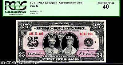 """CANADA BC11  $25 1935  """"KING GEORGE Vth & QUEEN MARY"""" PCGS 40! LOOKS GEM!"""