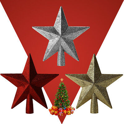 3D Gold / Red / Silver Glitter Shiny Star Christmas Tree Topper Decoration Gift