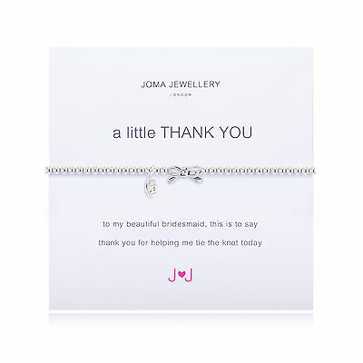 Joma Jewellery thank you bridesmaid bracelet gift bag bow silver plated, wedding