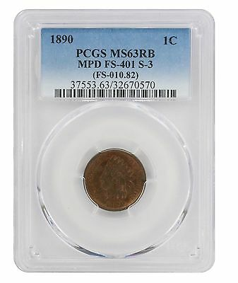 1890 Indian Cent MS63RB PCGS MPD FS-401 S-3 Cherrypicker Misplaced Date