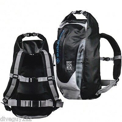 OceanPro Dry Bag Backpack - 30 Liter Capacity - PVC/Tarpaulin - Grey/Black