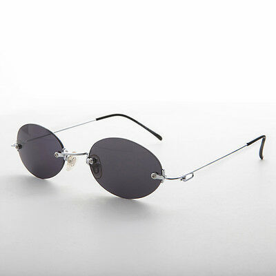 90s Vintage Rimless Oval Gray Colored Lens Sunglasses - Piper