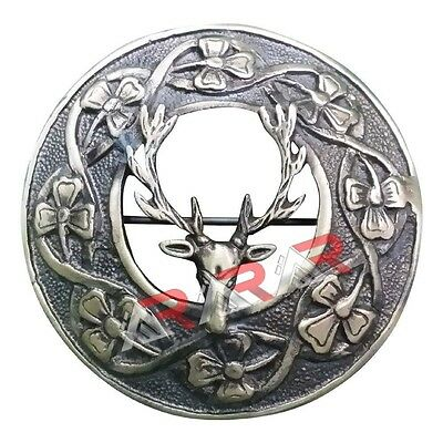 "Scottish Stag Head Brooch Fly Plaid  Kilt  Antique Finish 3"" (7cm) diameter"