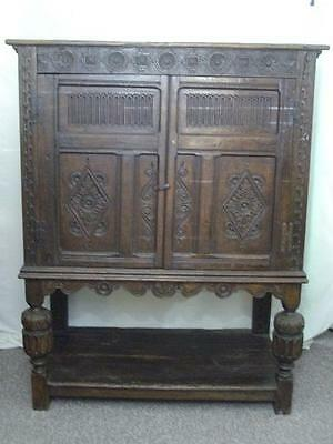 ANTIQUE CARVED OAK LIVERY HALL CUPBOARD-Ideal Cocktail cabinet!