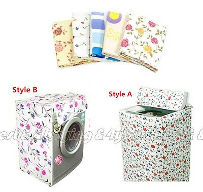 Flower Print Pattern Home Washer Washing Machine Guard Cover Random Color TP