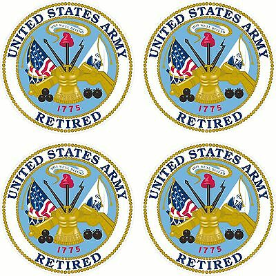 Lot Of 4 USA Military United States Army Retired  Decal Bumper Sticker