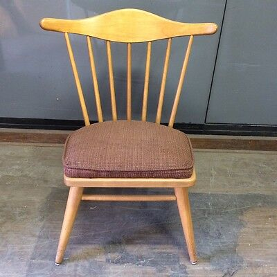 Mid Century Wood Conant Ball Side Chair w/Brown Cushion by Russel Wright