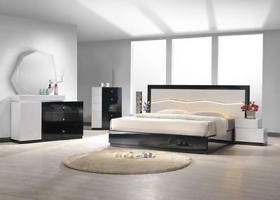 J&M Chic Modern Turin Black & White Lacquer King Size Bed Set Contemporary