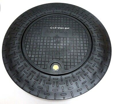 """Plastic Water Meter Box Flat Ring and Lid for 18"""" I.D. Pipe or Meter Pit Tile"""