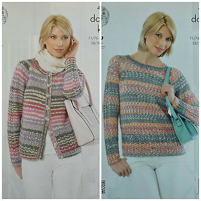 KNITTING PATTERN Ladies Round Neck Deep Lace Hem Cardigan & Jumper DK KC 4250