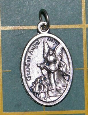 GUARDIAN ANGEL Medal Pendant, SILVER TONE, 22mm X 15mm, MADE IN ITALY