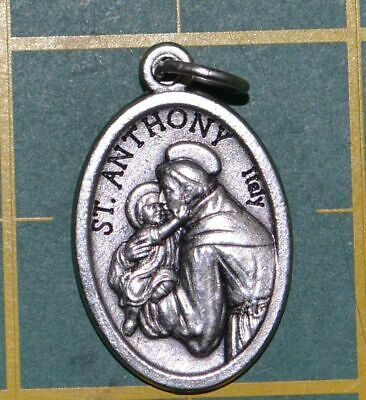 SAINT ANTHONY Medal Pendant, SILVER TONE, 22mm X 15mm, MADE IN ITALY