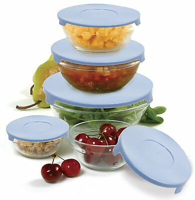 Norpro 10-Piece Nesting Glass Mixing/Storage Bowls with Lids by Norpro 1018  BOL