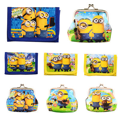 New Cute Despicable Me Minions Boys Wallet Trifold Girls Coin Purse Kids Party