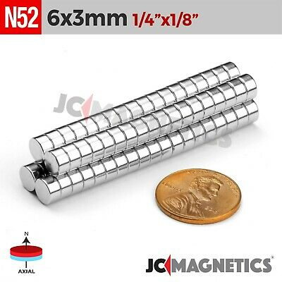 "25 50 100 1000pc 6mm x 3mm 1/4""x1/8"" N52 Strong Disc Rare Earth Neodymium Magnet"