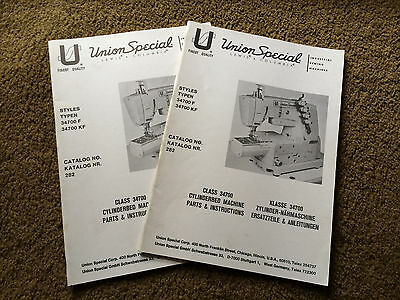 original Parts & Instructions book UNION SPECIAL 34700 cylinderbed machines