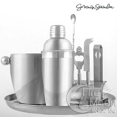 Set 8 Pz Accessori Professionali in Acciaio Barman Cocktail Shaker Feste Party