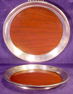 """Vintage MAHOGANY Wood SILVER Rim 12"""" Round SERVING TRAY Platter F.B. ROGERS Old"""