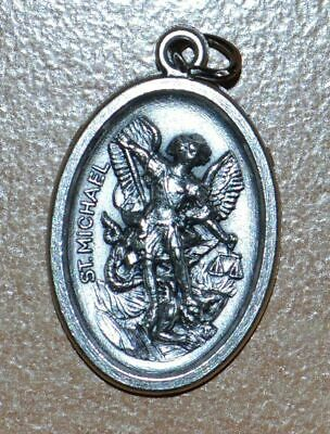SAINT MICHAEL Medal Pendant, SILVER TONE, 22mm X 15mm, MADE IN ITALY