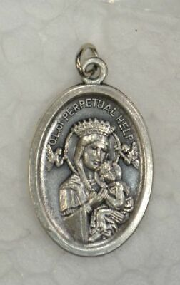 OUR LADY OF PERPETUAL HELP Medal Pendant, SILVER TONE, 22mm X 15mm, MADE IN ITAL