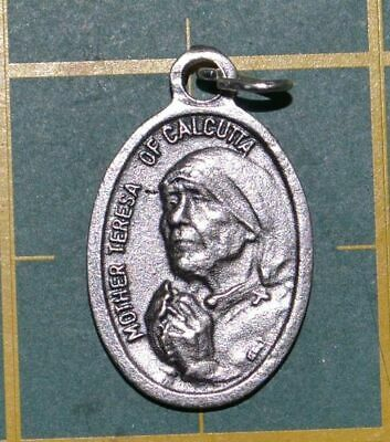 MOTHER TERESA OF CALCUTTA Medal Pendant, SILVER TONE, 22mm X 15mm, MADE IN ITALY