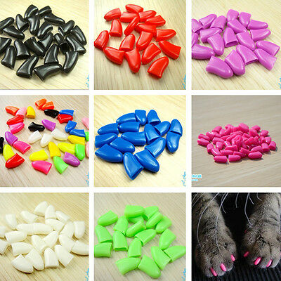 Pet Cat Paws Grooming Nail Claw Cap+Adhesive Glue Cover Protector Multi Size