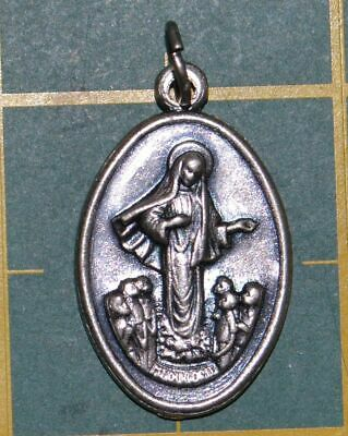 OUR LADY MADJUGORJE Medal Pendant, SILVER TONE, 22mm X 15mm, MADE IN ITALY