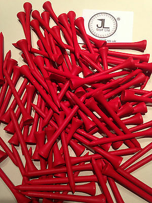 "1000 JL Golf red wooden tees 69 / 70mm long (2 3/4"") *NEW* Xmas gift  fathers"