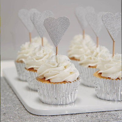 Ginger Ray Silver Heart Cake/Cupcake Toppers, Silver, Cake Decorations, Hearts