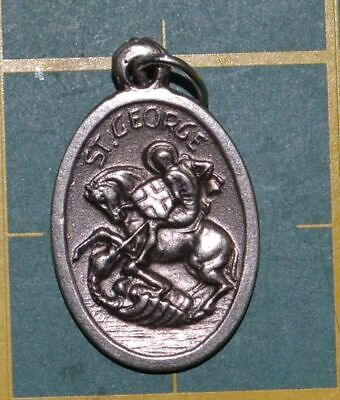 SAINT GEORGE Medal Pendant, SILVER TONE, 22mm X 15mm, MADE IN ITALY