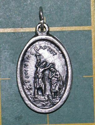 SAINT JOHN THE BAPTIST Medal Pendant, SILVER TONE, 22mm X 15mm, MADE IN ITALY