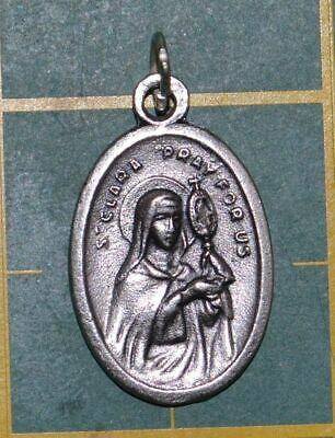 SAINT CLARE Medal Pendant, SILVER TONE, 22mm X 15mm, MADE IN ITALY