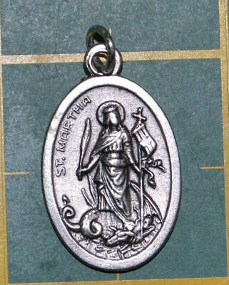 SAINT MARTHA Medal Pendant, SILVER TONE, 22mm X 15mm, MADE IN ITALY
