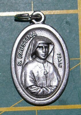 SAINT FAUSTINA Medal Pendant, SILVER TONE, 22mm X 15mm, MADE IN ITALY