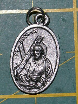 SAINT ANDREW Medal Pendant, SILVER TONE, 22mm X 15mm, MADE IN ITALY