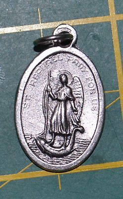 SAINT RAPHAEL Medal Pendant, SILVER TONE, 22mm X 15mm, MADE IN ITALY