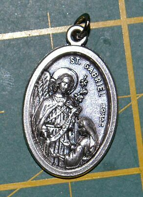 SAINT GABRIEL Medal Pendant, SILVER TONE, 22mm X 15mm, MADE IN ITALY