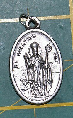 SAINT IGNATIUS Medal Pendant, SILVER TONE, 22mm X 15mm, MADE IN ITALY
