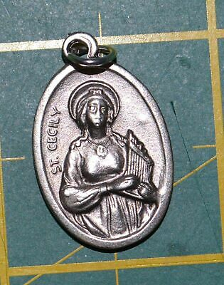 SAINT CECILY Medal Pendant, SILVER TONE, 22mm X 15mm, MADE IN ITALY