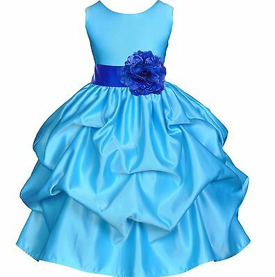 Blue Bridesmaid Pageant Birthday Wedding Recital Gown Party Flower Girl Dress