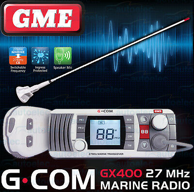 Gme Gx400 Boat Marine 27Mhz Radio Waterproof Cb Two Way + Axis Antenna Assembly